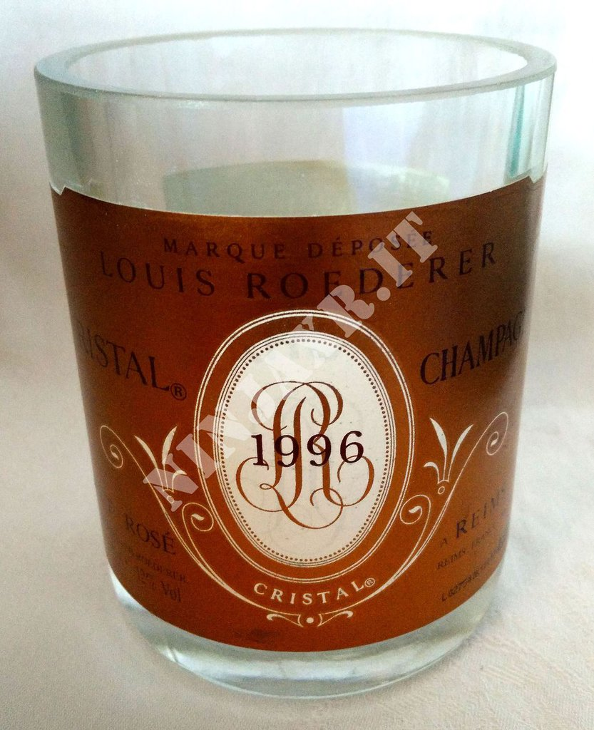 Champagne Cristal Rosè Vaso artigianale arredo Bottiglia Vuota