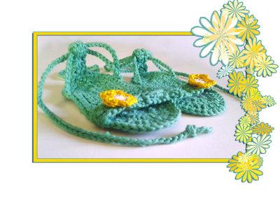 Scarpine uncinetto cotone tipo sandali, in cotone rosa,verde,fucsia. -Modello Luna-