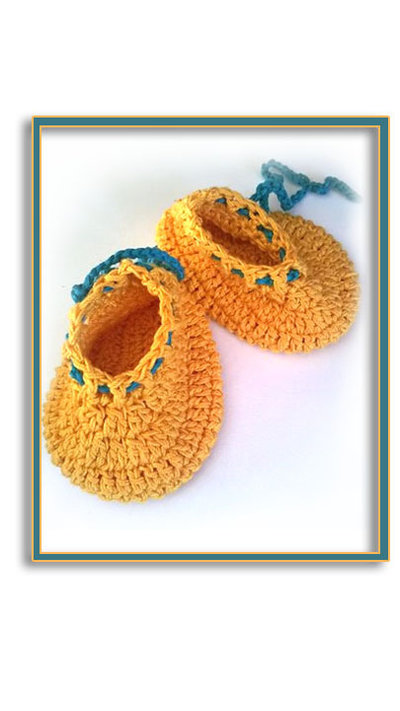 Scarpine stile ballerina ad uncinetto,per bambina, in lana anallergica o cotone nel colore giallo e turchese - Modello Dafne-