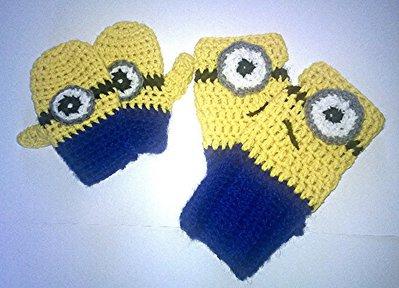 Guanti ispirati ai Minions realizzati ad uncinetto, in lana o cotone gialla . -Modello Guamini-