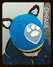 Cappellino berretta ispirato a Chease della Paw Patrol ad uncinetto, in lana o cotone colore blu -Modello chease-