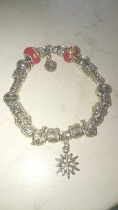 Bracciale con perle in argento tibetano e perle rosse