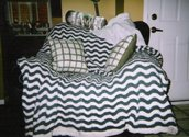 Green & White Striped Blanket