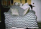 Green & White Striped Blanket