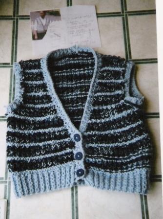 Women's Blue Buttoned Vest
