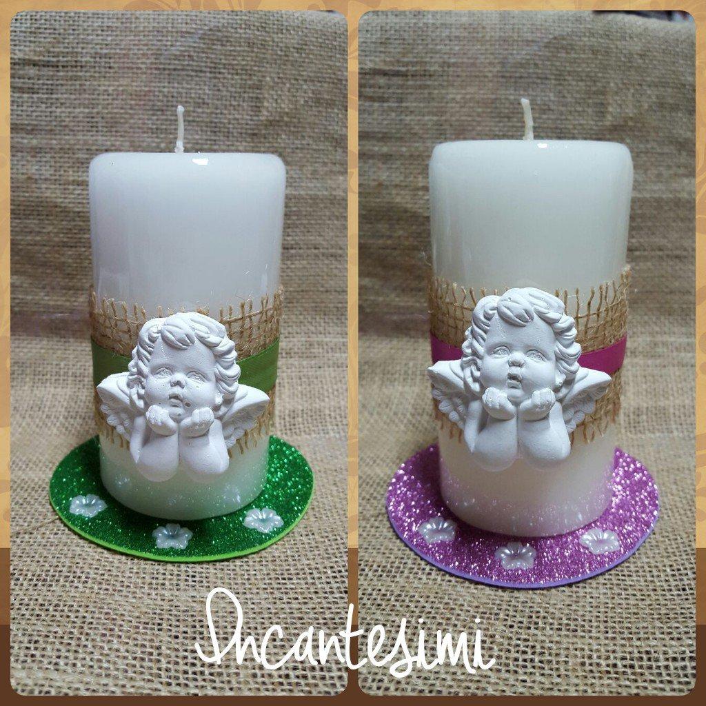 Candele decorate con angeli - Idea bomboniera comunione, battesimo, compleanno