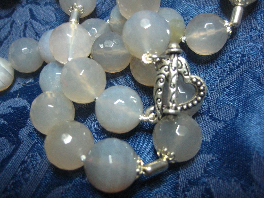 Collana argento 925 agata grigia traslucida