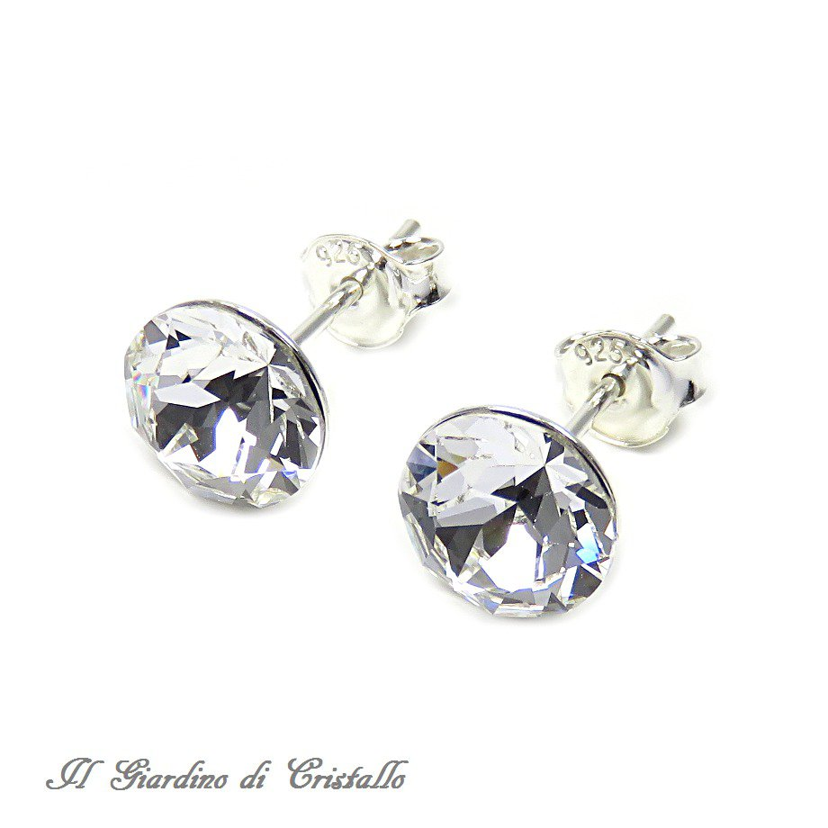 Orecchini tondi a lobo argento 925 cristallo Swarovski crystal 8,3 mm made in Italy - Gelso