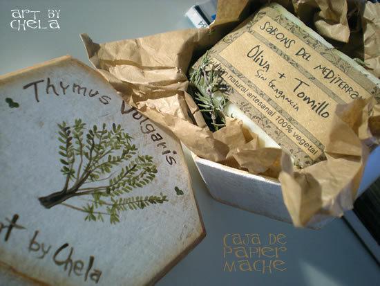 Jabón en caja pintada a mano