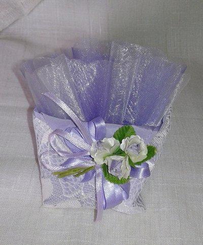 Bomboniera matrimonio bustina origami in pizzo lavanda