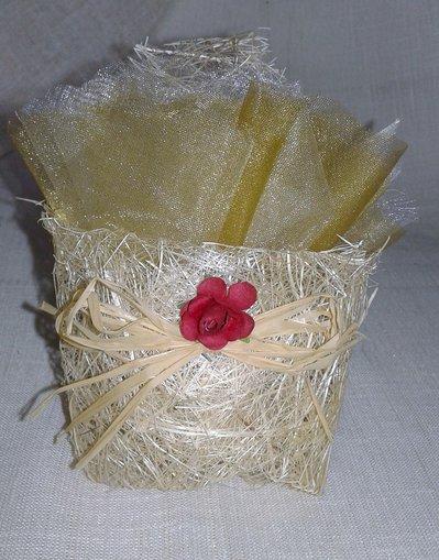 Bomboniera matrimonio bustina origami con rafia