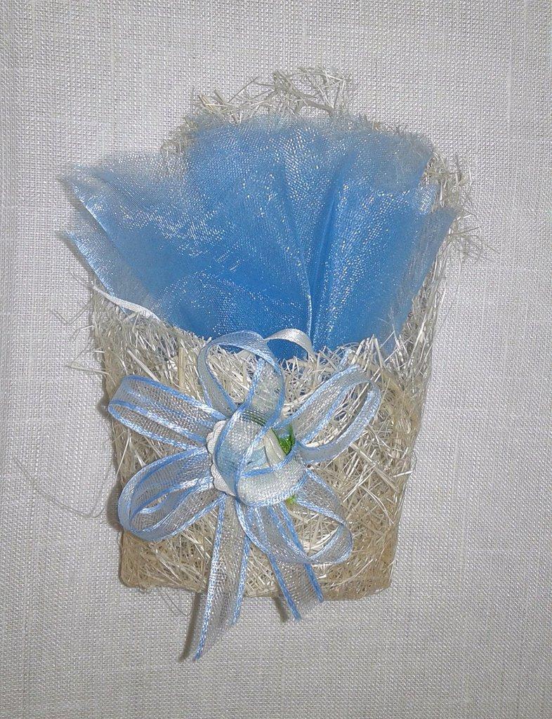 Bomboniera matrimonio nascita o battesimo bustina origami celeste