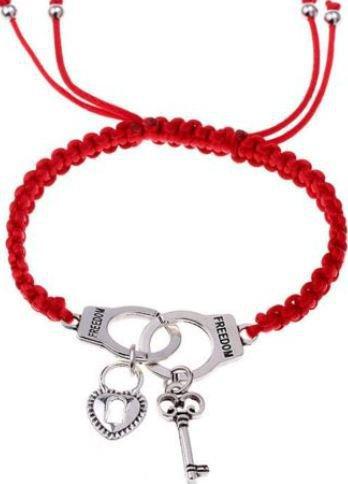 Bracciale con cordino rosso,ciondolo manette,chiave e lucchetto in argento tibetano idea regalo per lei e lui