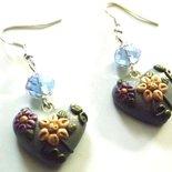 Orecchini con cristallini azzurri e cuore in fimo decorato idea regalo per lei