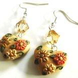 Orecchini con cristalli color miele,cuore in fimo decorato idea regalo per lei
