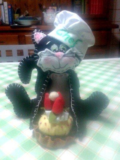 Gattino chef in pannolenci