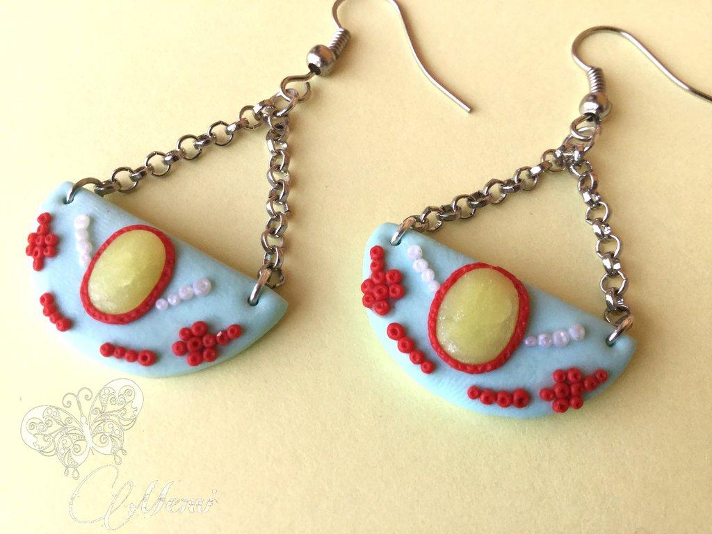 Orecchini etnici stile indiano in fimo - handmade jewelry-