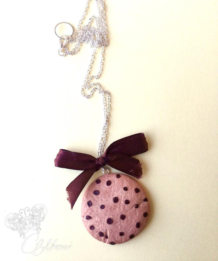 Collana Maxi biscotto con gocce di gioccolato - handmade cookie necklace-