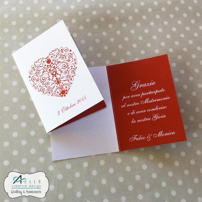 Ringraziamento mod heart feste matrimonio di aelle - Ringraziamento tacchino al colore ...