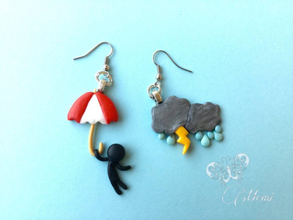 Orecchini pendenti temporale e omino con ombrello - kawaii - handmade -cute -
