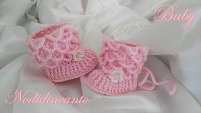 """Scarpine neonata  """"Stivaletti lana rosa"""""""