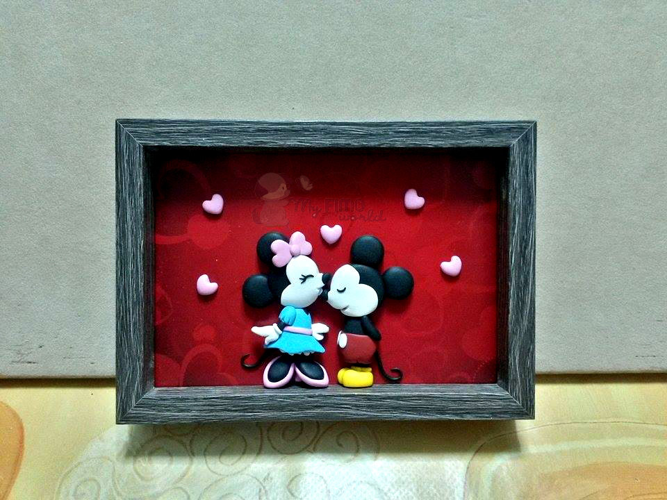 Quadretto-cornicetta con Minnie e Mickey Mouse fimo
