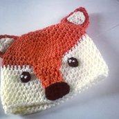 Cappellino Berretta volpe realizzata ad uncinetto in lana o cotone -Modello volpina-