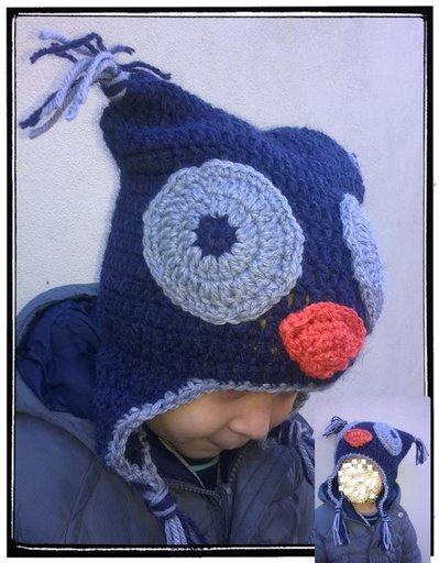 Cappellino Berretta gufo realizzata ad uncinetto in lana o cotone -Modello gufetto-