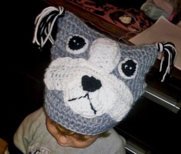 Cappellino Berretta cagnolino realizzata ad uncinetto in lana o cotone -Modello fedele-