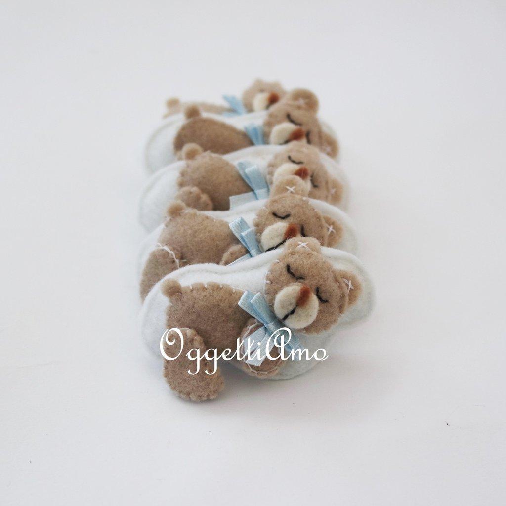 50 teneri orsacchiotti in feltro fatti a mano per le bomboniere dei tuoi bambini