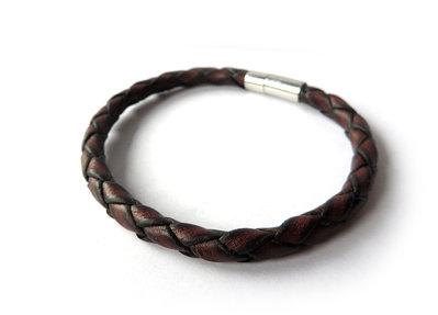 Bracciale da uomo pelle marrone sfumata 5mm polsino braccialetto semi rigido