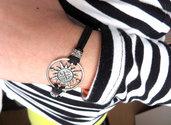 Bracciale UOMO Bussola nautica Rosa dei venti mare braccialetto pelle argento unisex