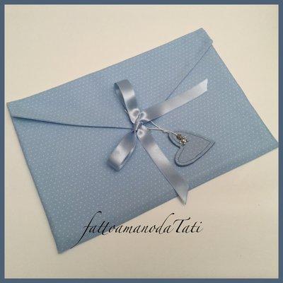 Busta cambio bebè in cotone azzurro a pois piccoli bianchi
