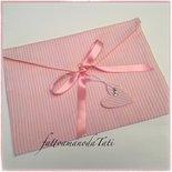 Busta cambio bebè in cotone a righe rosa e bianco