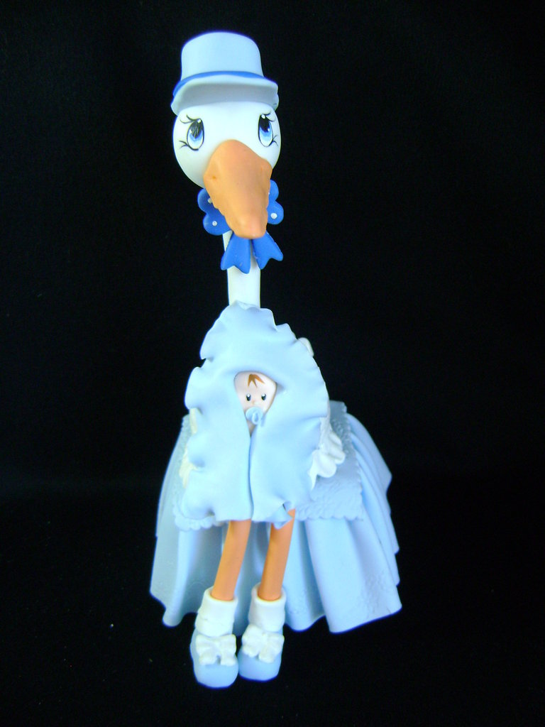 Cicogna per torta di nascita