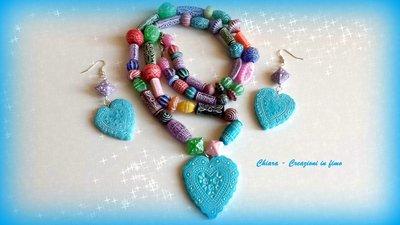 Parure con ciondolo e orecchini coordinati in fimo elegante handmade multicolore idee regalo san valentino donna