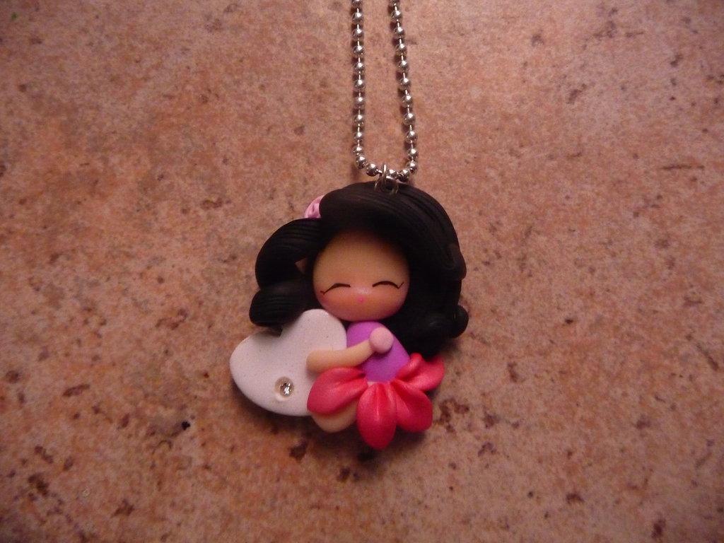 collana principessa dollina sonnellina  fimo rosa e fucsia  idea regalo bambina