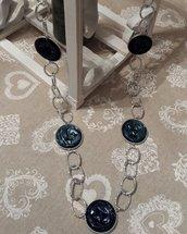 Collana capsule caffè blu con catena argentata