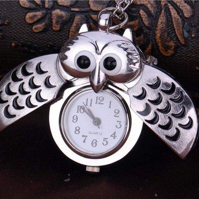collana orologio gufo apribile  portafortuna color argento  idea regalo bambina donna vintage