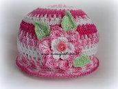 cappellino uncinetto bimba sfumature in rosa linea primavera