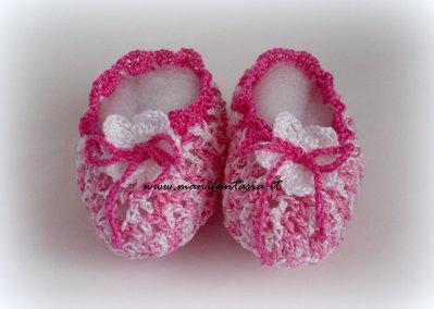 scarpine neonato uncinetto bimba linea primavera