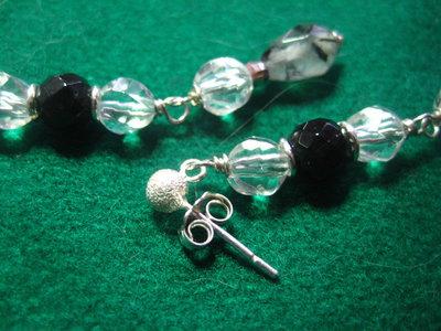 Orecchini argento 925 tormalina nera quarzo tormalinato cristallo rocca