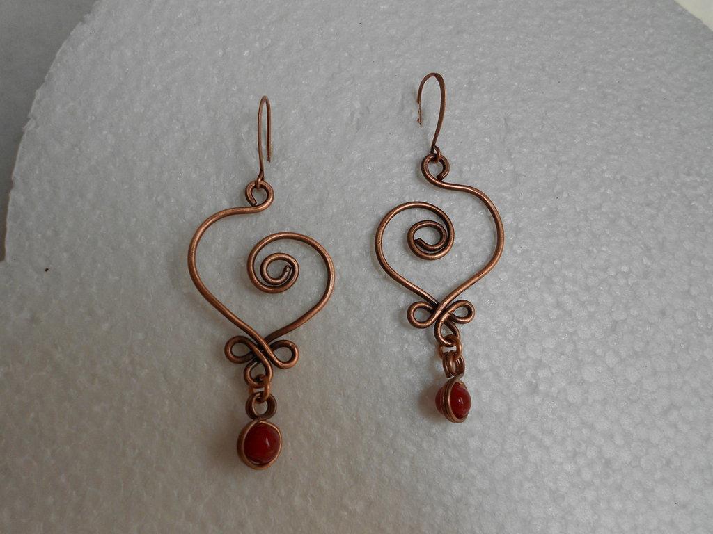 orecchini cuore e pietra murano rossa