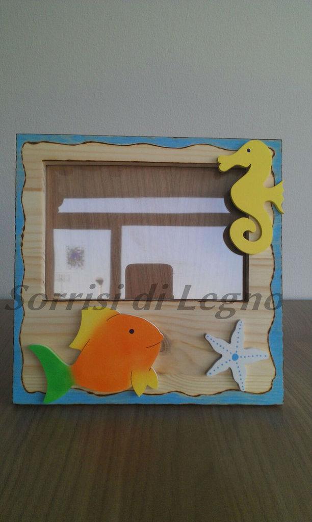 Portafoto in legno con animaletti marini