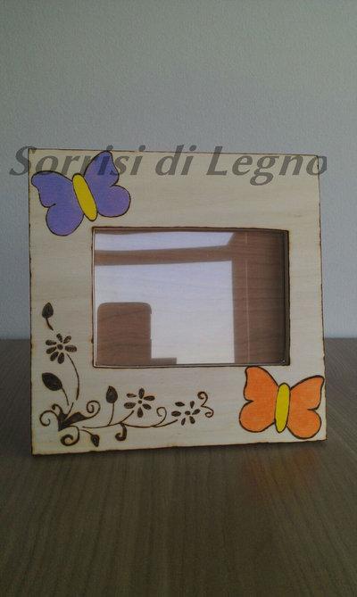 Portafoto in legno due farfalle