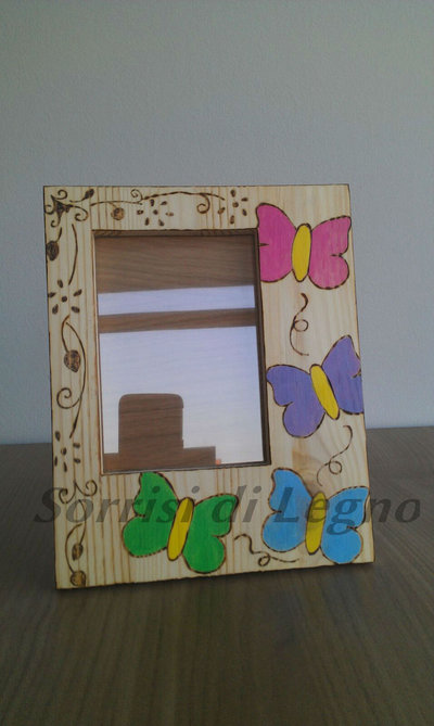 Portafoto in legno farfalle colorate
