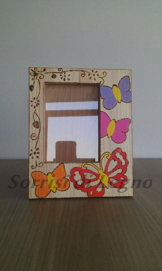 Portafoto in legno farfalle miste
