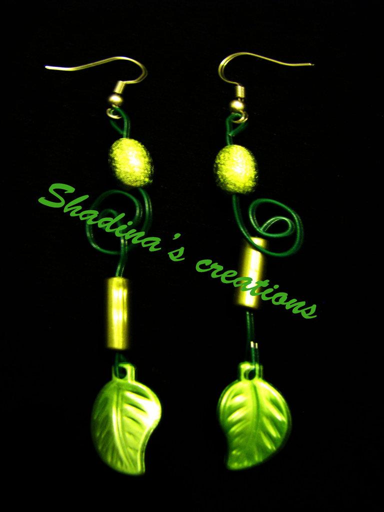 Orecchini fogliolina verde