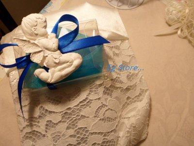 bomboniera battesimo, comunione bimbo angioletto in gesso ceramico profumato