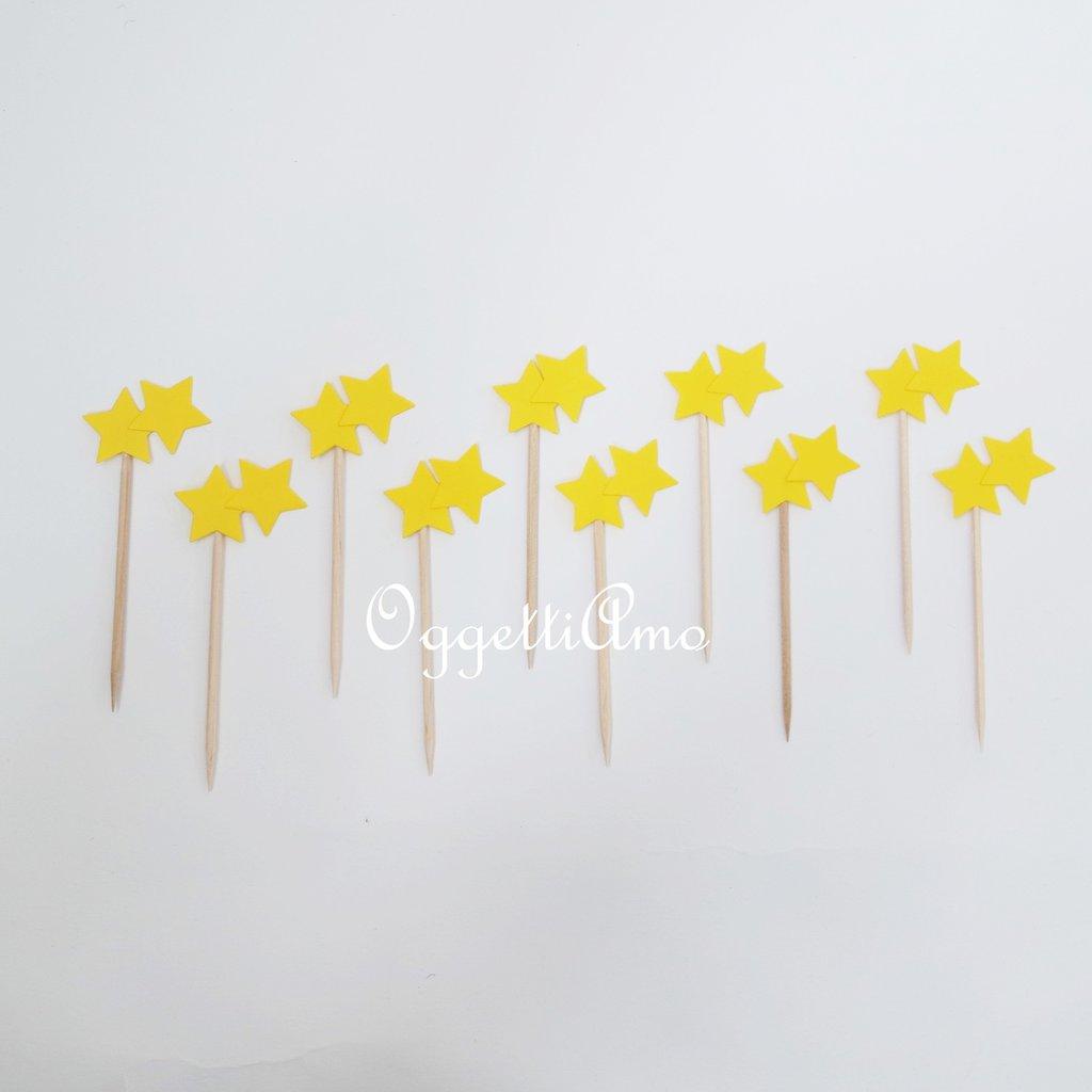 40 Cupcake toppers a forma di stella: decorazioni per il coordinato 'Aeroplanini tra le nuvole'